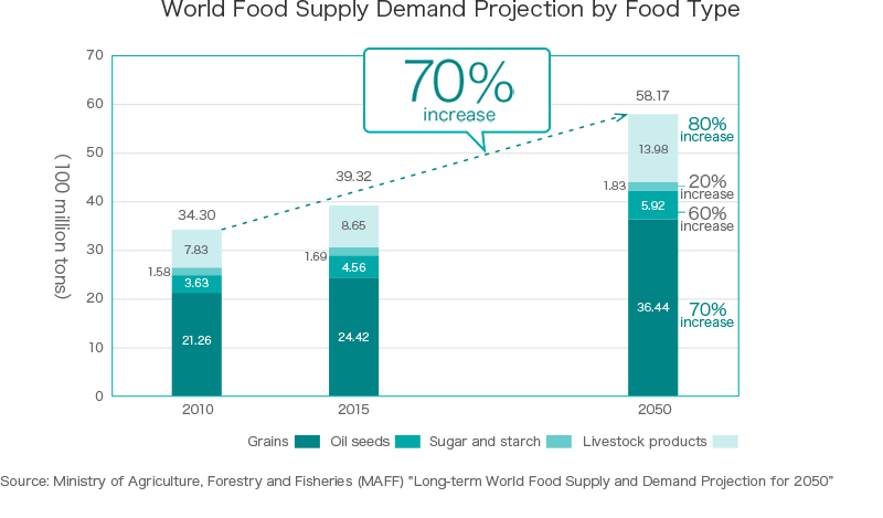 World Food Supply Demand Projection by Food Type