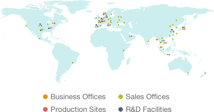 Business Offices, Production Sites, Sales Offices, R&D Facilities