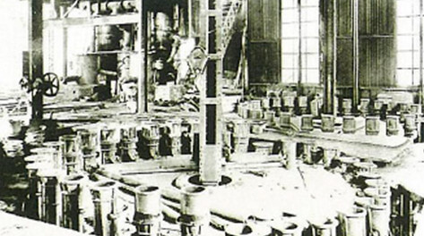 Cast iron pipe rotary casting machine at the Amagasaki Plant (1917)