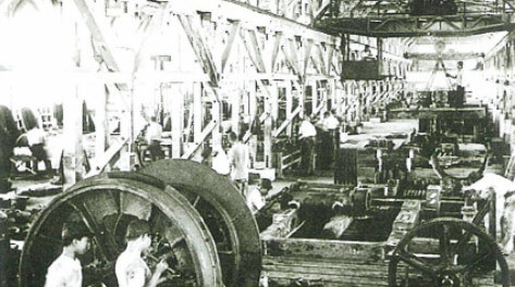 Hoist machinery for mine use being produced at the Mukogawa plant